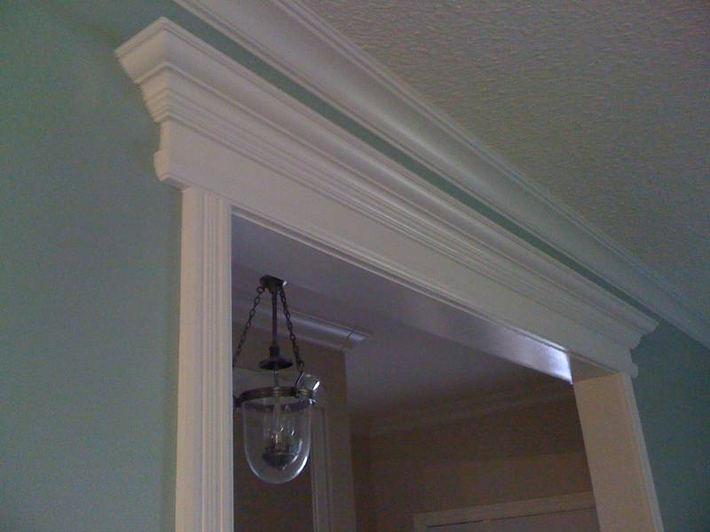 Door Mantels and Crown Molding in Living Room