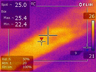 Missing insulation discovered with infrared camera.