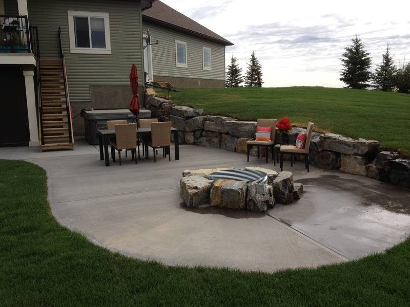 Rock wall and fire pit