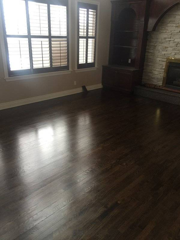 Oak hardwood floors sanded stained and finished with Jacobean Duraseal stain and finish.