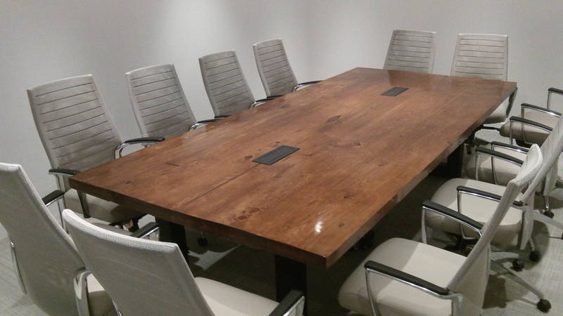 Reclaimed wood boardroom table
