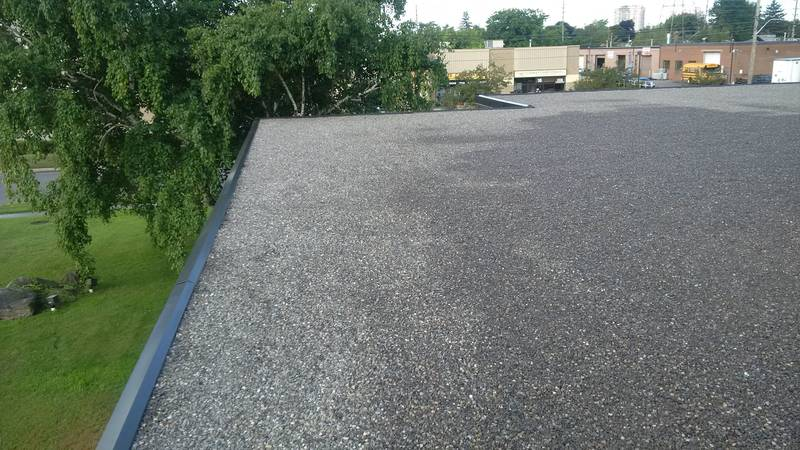 18,265 flat roof replacement using Polyglass technology in Mississauga, ON